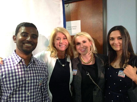 Me (far right) with two of my most favorite people, Anand and Nicole, and Wendy Davis (second from left).